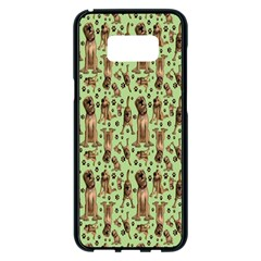 Puppy Dog Pattern Samsung Galaxy S8 Plus Black Seamless Case