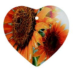 Sunflower Art  Artistic Effect Background Ornament (heart)