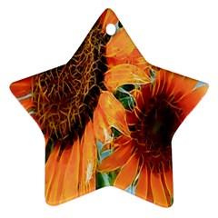 Sunflower Art  Artistic Effect Background Ornament (star) by BangZart