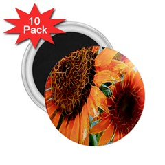 Sunflower Art  Artistic Effect Background 2 25  Magnets (10 Pack)