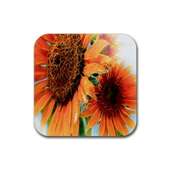 Sunflower Art  Artistic Effect Background Rubber Square Coaster (4 Pack)  by BangZart