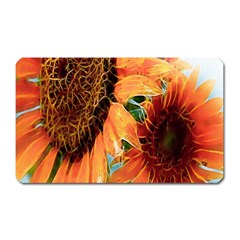 Sunflower Art  Artistic Effect Background Magnet (rectangular)