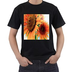 Sunflower Art  Artistic Effect Background Men s T Shirt (black) (two Sided)