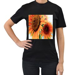 Sunflower Art  Artistic Effect Background Women s T Shirt (black) (two Sided)