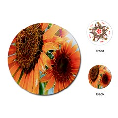 Sunflower Art  Artistic Effect Background Playing Cards (round)