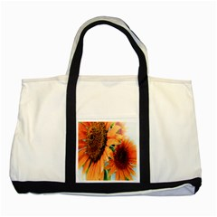 Sunflower Art  Artistic Effect Background Two Tone Tote Bag by BangZart