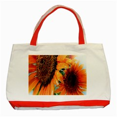 Sunflower Art  Artistic Effect Background Classic Tote Bag (red)