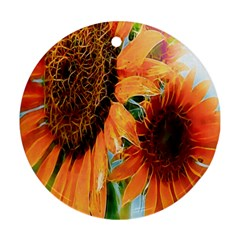 Sunflower Art  Artistic Effect Background Round Ornament (two Sides)