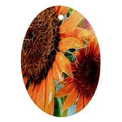 Sunflower Art  Artistic Effect Background Oval Ornament (two Sides) by BangZart