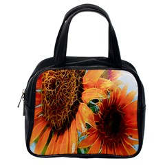 Sunflower Art  Artistic Effect Background Classic Handbags (one Side) by BangZart