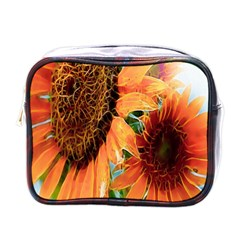 Sunflower Art  Artistic Effect Background Mini Toiletries Bags by BangZart