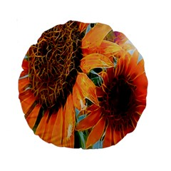 Sunflower Art  Artistic Effect Background Standard 15  Premium Round Cushions by BangZart