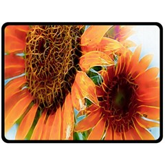 Sunflower Art  Artistic Effect Background Double Sided Fleece Blanket (large)