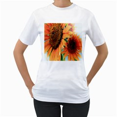 Sunflower Art  Artistic Effect Background Women s T Shirt (white)