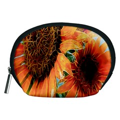 Sunflower Art  Artistic Effect Background Accessory Pouches (medium)