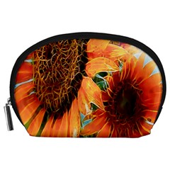 Sunflower Art  Artistic Effect Background Accessory Pouches (large)