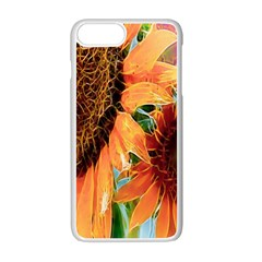 Sunflower Art  Artistic Effect Background Apple Iphone 7 Plus White Seamless Case by BangZart