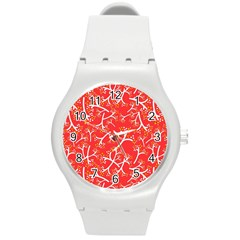 Small Flowers Pattern Floral Seamless Pattern Vector Round Plastic Sport Watch (m) by BangZart