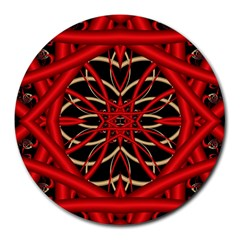 Fractal Wallpaper With Red Tangled Wires Round Mousepads