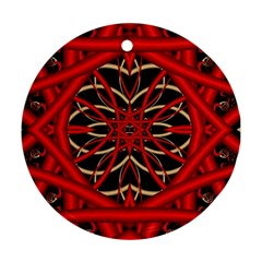 Fractal Wallpaper With Red Tangled Wires Ornament (round)