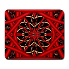 Fractal Wallpaper With Red Tangled Wires Large Mousepads
