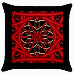 Fractal Wallpaper With Red Tangled Wires Throw Pillow Case (black)