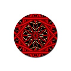 Fractal Wallpaper With Red Tangled Wires Rubber Round Coaster (4 Pack)
