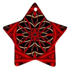 Fractal Wallpaper With Red Tangled Wires Star Ornament (two Sides)