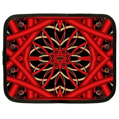 Fractal Wallpaper With Red Tangled Wires Netbook Case (xxl)  by BangZart