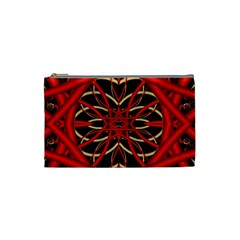 Fractal Wallpaper With Red Tangled Wires Cosmetic Bag (small)  by BangZart