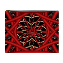 Fractal Wallpaper With Red Tangled Wires Cosmetic Bag (xl)