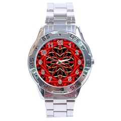 Fractal Wallpaper With Red Tangled Wires Stainless Steel Analogue Watch by BangZart