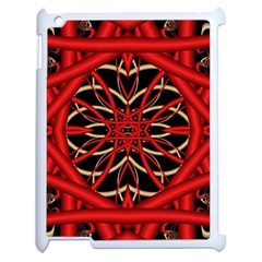 Fractal Wallpaper With Red Tangled Wires Apple Ipad 2 Case (white) by BangZart