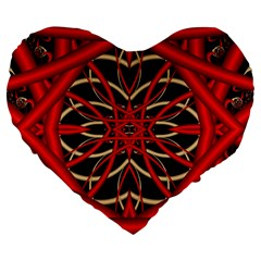 Fractal Wallpaper With Red Tangled Wires Large 19  Premium Heart Shape Cushions by BangZart