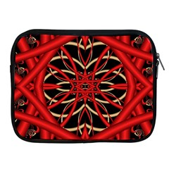 Fractal Wallpaper With Red Tangled Wires Apple Ipad 2/3/4 Zipper Cases by BangZart