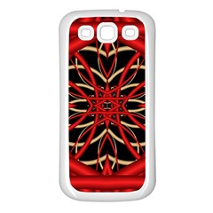 Fractal Wallpaper With Red Tangled Wires Samsung Galaxy S3 Back Case (white)