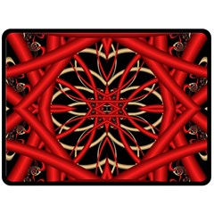 Fractal Wallpaper With Red Tangled Wires Double Sided Fleece Blanket (large)