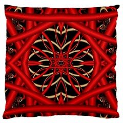 Fractal Wallpaper With Red Tangled Wires Large Flano Cushion Case (one Side)