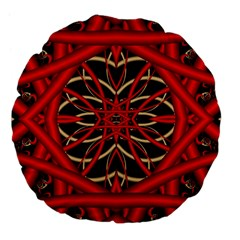 Fractal Wallpaper With Red Tangled Wires Large 18  Premium Flano Round Cushions by BangZart