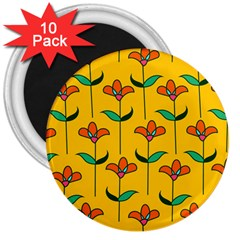 Small Flowers Pattern Floral Seamless Pattern Vector 3  Magnets (10 Pack)