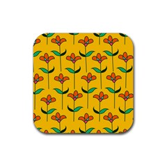 Small Flowers Pattern Floral Seamless Pattern Vector Rubber Square Coaster (4 Pack)  by BangZart