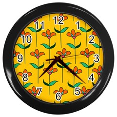 Small Flowers Pattern Floral Seamless Pattern Vector Wall Clocks (black)