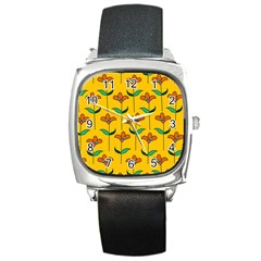Small Flowers Pattern Floral Seamless Pattern Vector Square Metal Watch
