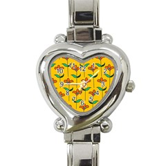 Small Flowers Pattern Floral Seamless Pattern Vector Heart Italian Charm Watch by BangZart