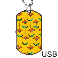 Small Flowers Pattern Floral Seamless Pattern Vector Dog Tag Usb Flash (two Sides) by BangZart