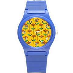 Small Flowers Pattern Floral Seamless Pattern Vector Round Plastic Sport Watch (s)