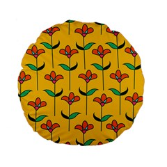 Small Flowers Pattern Floral Seamless Pattern Vector Standard 15  Premium Flano Round Cushions