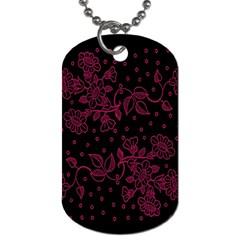 Pink Floral Pattern Background Wallpaper Dog Tag (one Side)