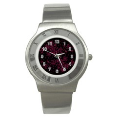 Pink Floral Pattern Background Wallpaper Stainless Steel Watch