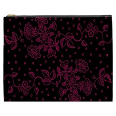 Pink Floral Pattern Background Wallpaper Cosmetic Bag (xxxl)